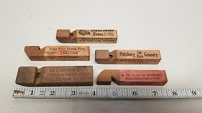 #324 Lot Of 5 30's? Wooden Advertising Whistles Buster Brown, Treatine, Etc