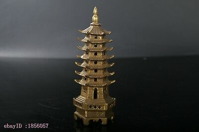 Collection ancient Chinese Handmade brass carving tower-type Incense burner NR