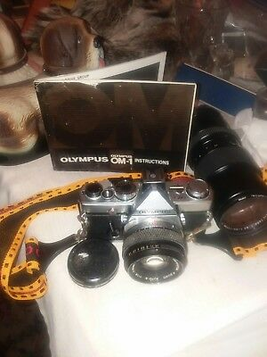 Olympus OM-1 35mm Film Camera w/f=~50mm and f=90~230mm two filters