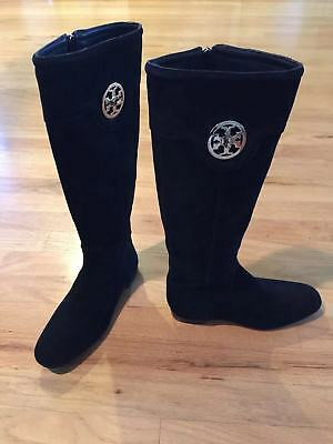 TORY BURCH Black Softy Suede Leather Tall Boot Size 5.5 Style No. 31118610