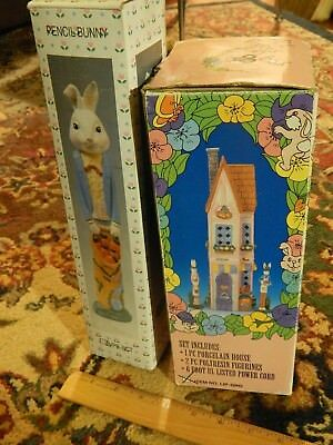 Easter Holiday (LOT) Pencil Bunny Figurines + Porcelain Lighted Grocery House