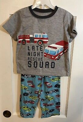 Child of Mine by Carter's 3 Piece Fire Truck Pajamas Size 5T Shirt, Shorts Pants