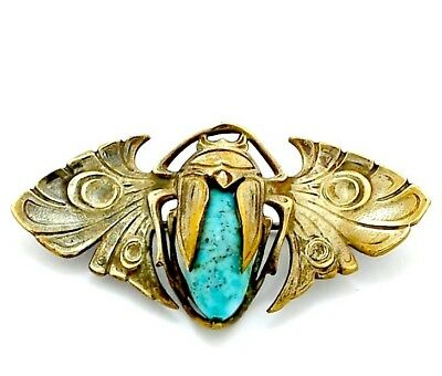 Antique Egyptian Revival Scarab Brooch Pin