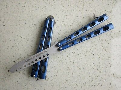 Practice BALISONG METAL BUTTERFLY Steel Trainer Dull Knife C34 #BLUE