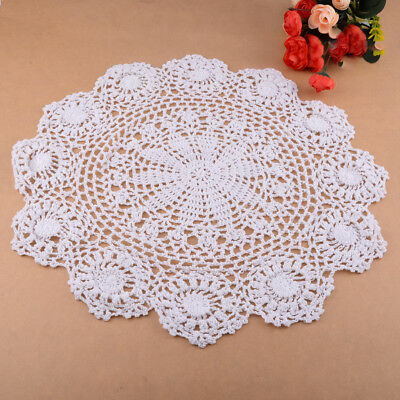 Vintage Floral Hand Crochet Cotton Lace Doily Round Flower Table Placemat