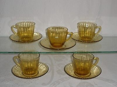 VINTAGE AUSTRALIAN DEPRESSION GLASS Amber Tea Cup & Saucers VERY GOOD CONDITION