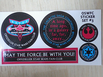 ORIG. STAR WARS FAN CLUB OSWFC Aufkleber,Sticker/SET 3/MAY THE FORCE WITH YOU