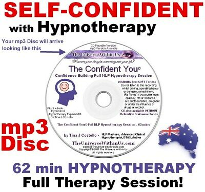 SELF CONFIDENCE CLINICAL HYPNOTHERAPY mp3 Disc CONFIDENT NLP HYPNOSIS IMAGE CD
