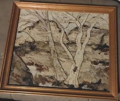 "Tea Tree Bark 3D art painting by Lola Griffiths 11x13"" rare"