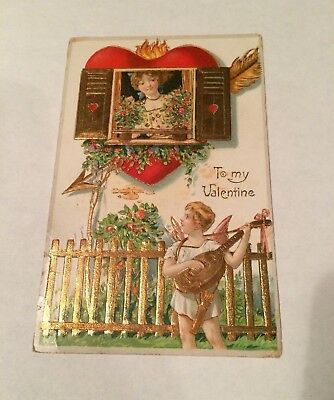 Antique TO MY VALENTINE Angel With Guitar Embossed Gold  POSTCARD Germany