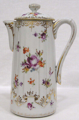 Vintage Ribbed Porcelain Chocolate Pot Hand Painted Floral and Gold Circa 1930s