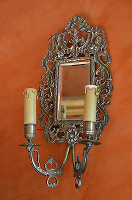 Antique French heavy solid bronze wall sconce, girandole, bevelled mirror