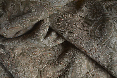 Antique French woven Jacquard fabric, linen and cotton, for sewing/upholstery
