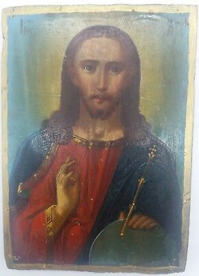 Antique Orthodox Icon Jesus Christ, on the board Hand Painted, 19th century earl