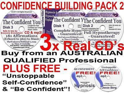 3x CD CONFIDENCE BUILDING HYPNOSIS HYPNOTHERAPY SET SELF-CONFIDENT PROGRAM  PACK