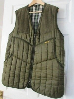 Barbour Mans Shooting Waistcoat, Quilted,Check Lining, Olive Green, Large. VGC