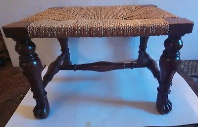 Antique Walnut Footstool With Paw Feet.finely Made !!