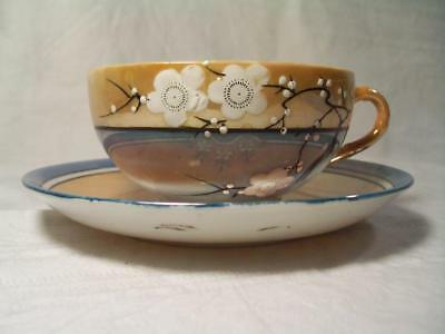 Bone China Oriental Cup & Saucer Vtg Handpainted Dogwood Japan Iridescent Lustre