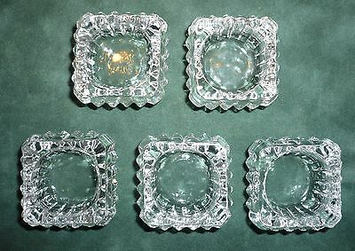 Set of 5 Antique EAPG Square Zipper Edge Saw Tooth Individual Salt Cellars