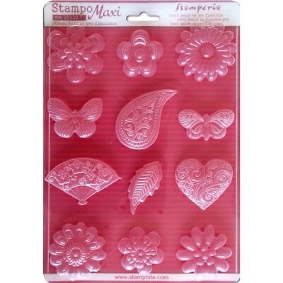 Stamperia Soft Maxi Mould/Mold A4 - Flowers, Hearts & Butterflies  K3PTA434 New