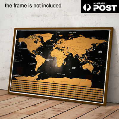New Scratch Off World Map Poster Interactive Travel Atlas Decor 40*30cm AU STOCK