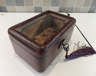 Antique French Leather Covered Casket Box With Bevelled Glass Lid- Lock & Key