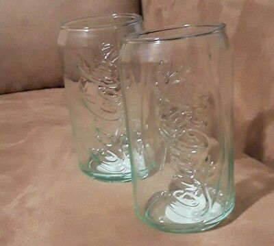Coca Cola Coke Green Glass Can Cup Coke Drink NEW 12-oz Set Of TWO Tumbler