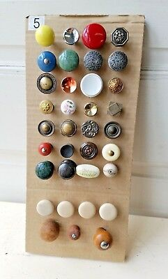 Assorted Lot of 35 Colorful Vintage Drawer Knobs and Pulls, Brass Ceramic Wood