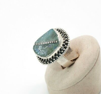 Roman Glass Hand Made Ring In Sterling Silver 925 #90