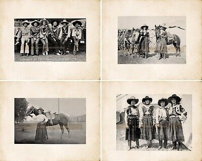 Lot of 4 Cowgirls Vintage Photo Rodeo Reprints 2