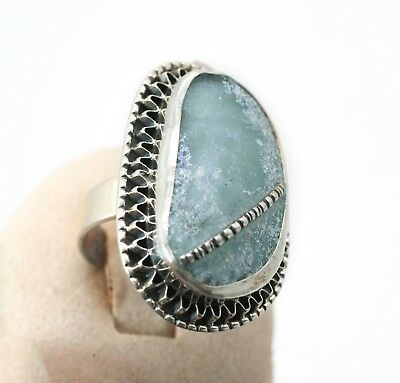 Roman Glass Hand Made Ring In Sterling Silver 925 #94