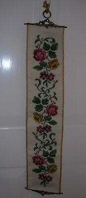 Decorative Tapestry bell pull, wall hanging, brass ends. Beautifully worked.