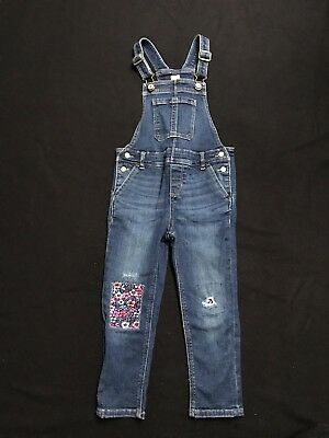 Pretty, distressed-effect patchwork Baby Gap girls denim dungarees, 4 years