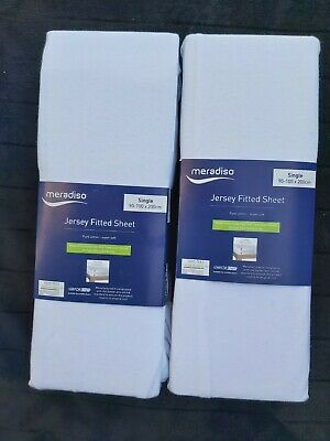 Elasticated Edge Brand New 2 Double Bed Sheets Cream Jersey Fitted Sheet