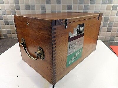Vintage Wooden Box For Transporting Valuables On Board Ship- With Labels- Handle