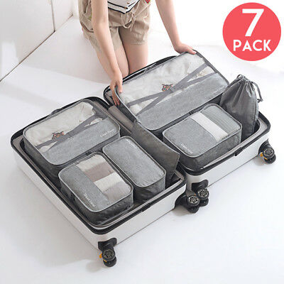 7Pack Packing Cubes Pouch Suitcase Clothes Storage Bags Travel Luggage Organizer
