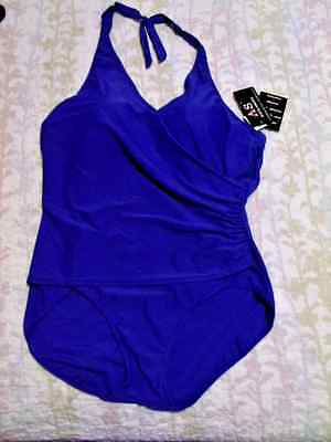 98ee48f38b5b7 AS Alicia Simone NWT size 24W plus Swimsuit Womens purple Halter 1 pc NEW