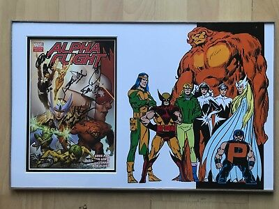 Alpha Flight comic Signed Stan Lee + Multiple other signatures with COA 20x13