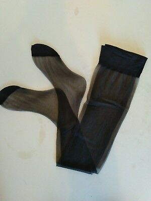 2 X vintage nylon stockings size 9.5 NUDE HEEL BLACK sheer  PRIVATE LISTING