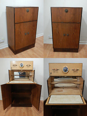 Vintage mid century teak cocktail drinks cabinet with fall front lift top design