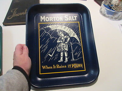 Vintage Morton Salt Girl Dark Blue Metal Serving Tray