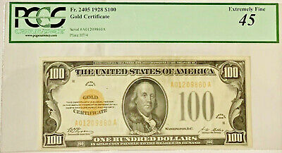 1928 $100 Pcgs 45 - Gold Certificates For Sale