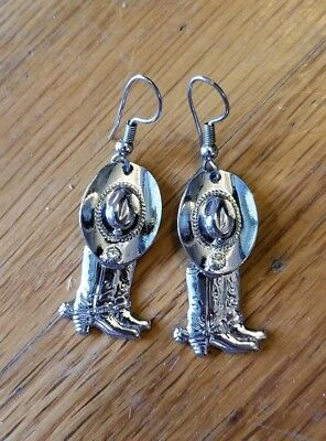 Silver Tone Earrings with Small Crystal Cowboy Hat & Boots Western Cowgirl