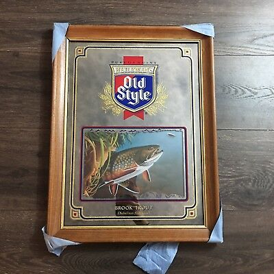1992 Old Style Beer Brook Trout Mirror Wildlife Series Hunting Fish Bar Sign