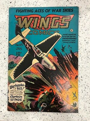 Wings Comics #65 VG Fiction House Comic Book Fighting Aces of War Skies Airplane