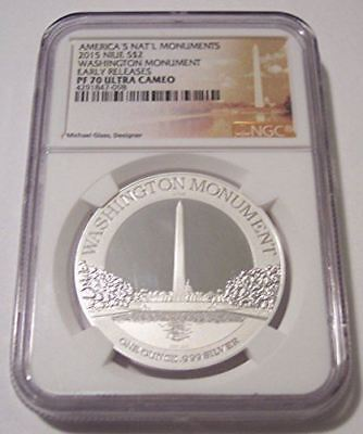 Niue 2015 1 Ounce Silver 2 Dollars Washington Monument Proof PF70 UC NGC ER