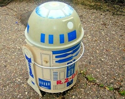 vtg used 1983 STAR WARS R2D2 toy toter box rolling chest works usage marks