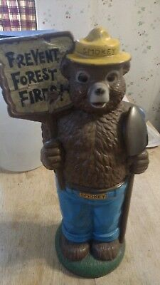 "1972 Smokey The Bear 14""  Prevent Forest Fires 14"" Tall Bank - Play Pal Plastics"