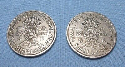 Great Britain 1947 2 Shilling KM 865 and a 1949 2 Shilling KM 878 - Two Coins