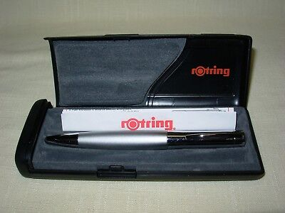 ROTRING Initial Silver Rollerball Pen #48681 w/Ergonomic Grip New Black Refill